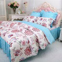 Принцесса синий цветок комплект постельных принадлежностей девушки, полный королева хлопок двойной оборками симпатичные домашний текстиль постельное юбки наволочка чехол одеяло(China (Mainland))