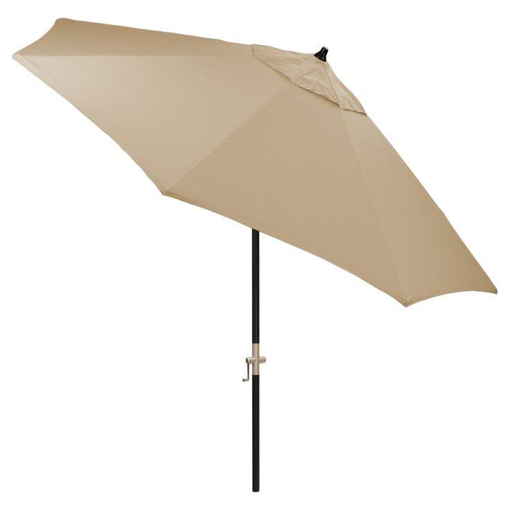 9' Round Sunbrella Umbrella - Canvas Heather Beige - Black Pole - Smith & Hawken