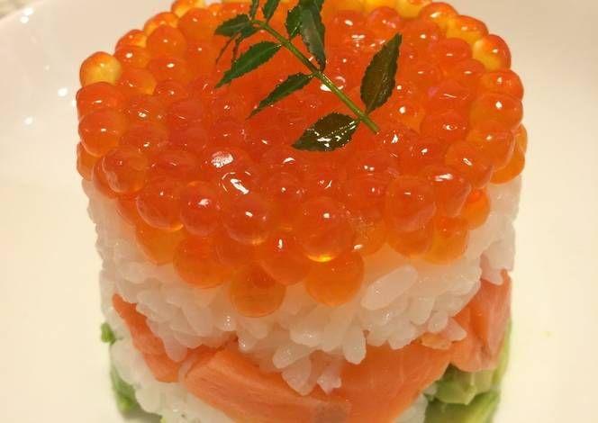 Salmon Caviar And Avocado Sushi Cake