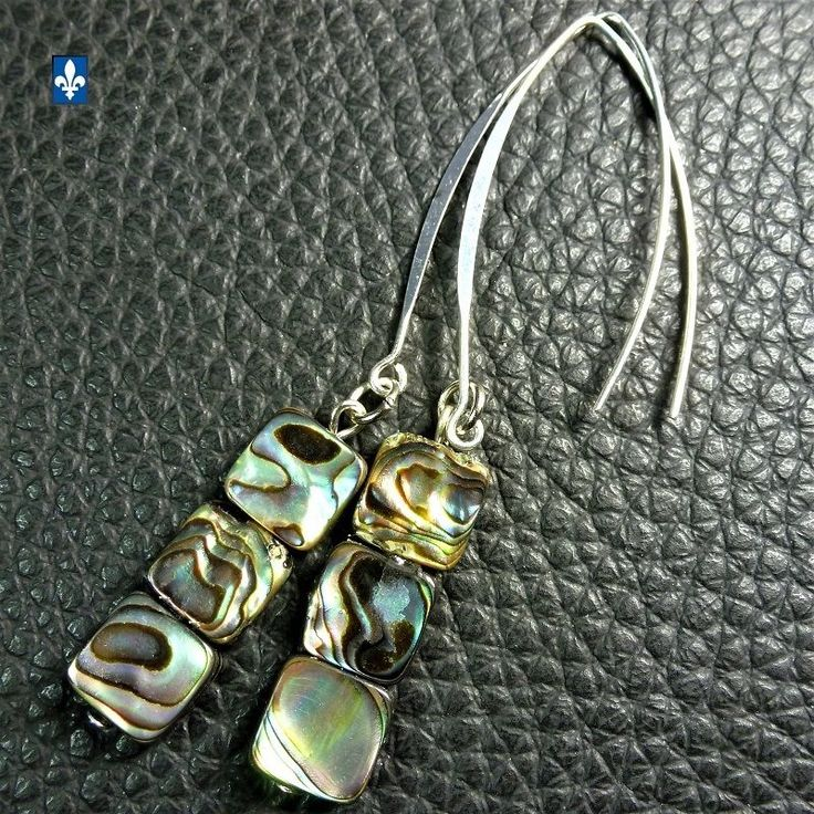 ♥ SHIP TO QC CA USA EU  Natural Abalone Shell & Plated Silver Squares  Earrings