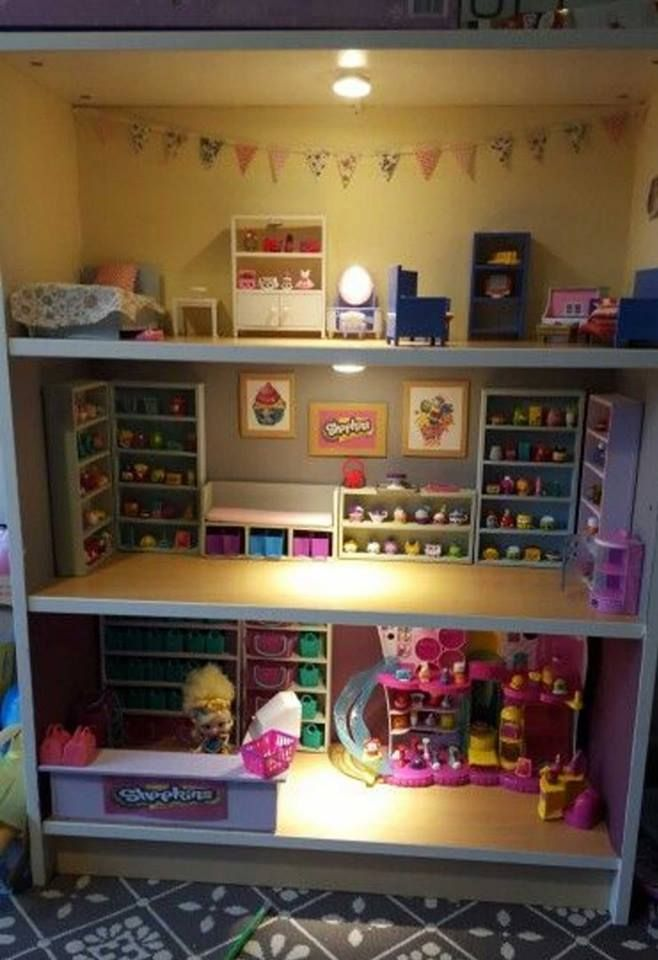 Up cycle an old book shelf into a Shopkins playhouse... Love this!