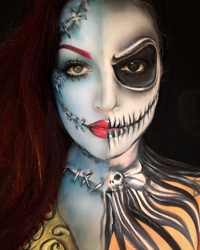 Pin for Later: This Makeup Artist Gives Your Favorite Disney Characters a Twisted Makeover Sally and Jack Skellington