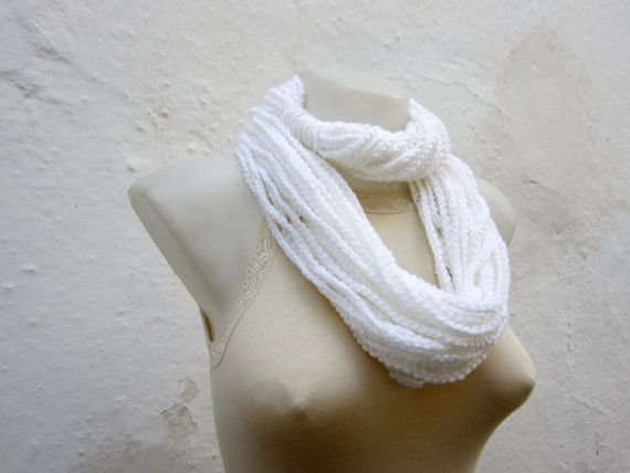 Crochet Scarf infinity White  Necklace Long Winter by nurlu