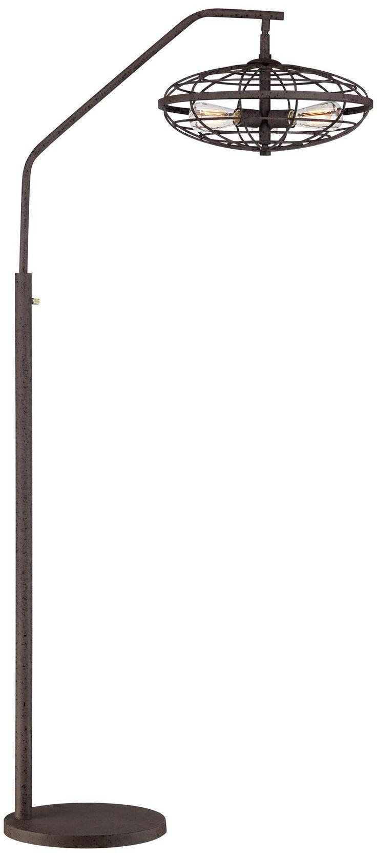Industrial Cage 3-Light Arc Rust Floor Lamp -