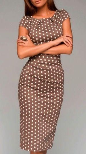 Polka Dot Short Sleeve Sheath Dress