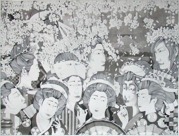 現代版「浮世絵」!?葛飾北斎に恋をしたロシア人が描く東洋と西洋が混在するモノクロ絵画