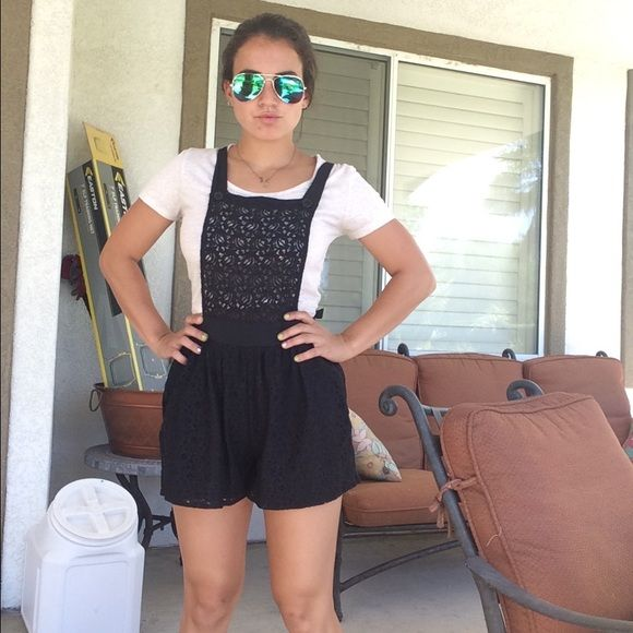 Black lace shorts overalls! Stretchy black lace overalls! Perfect with crop tops and flats!!!  Shorts
