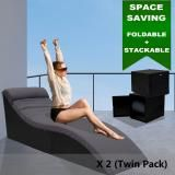 Luxo Coron PE Wicker Sun Bed Outdoor Furniture folded lounge with Dark Grey Charcoal Cushion Sun Bed Sunbed Day Bed - Black Twin Pack