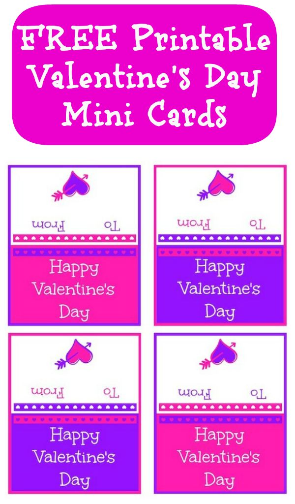 FREE Printable Valentine Mini Cards