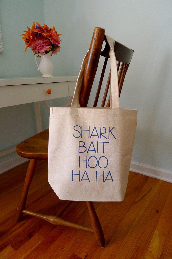 Shark bait hoo ha ha, Finding Nemo tote, disney pixar tote bag, Finding nemo, shark bait by rachelwalter on Etsy https://www.etsy.com/listing/126900368/shark-bait-hoo-ha-ha-finding-nemo-tote
