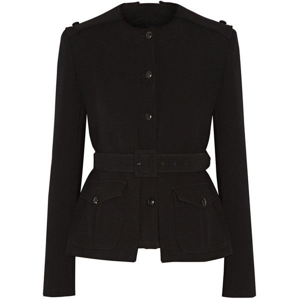 Tom Ford Belted stretch-wool jacket ($3,490) ❤ liked on Polyvore featuring outerwear, jackets, black, tom ford, tom ford jacket, belted jacket, cinch jackets and black jacket