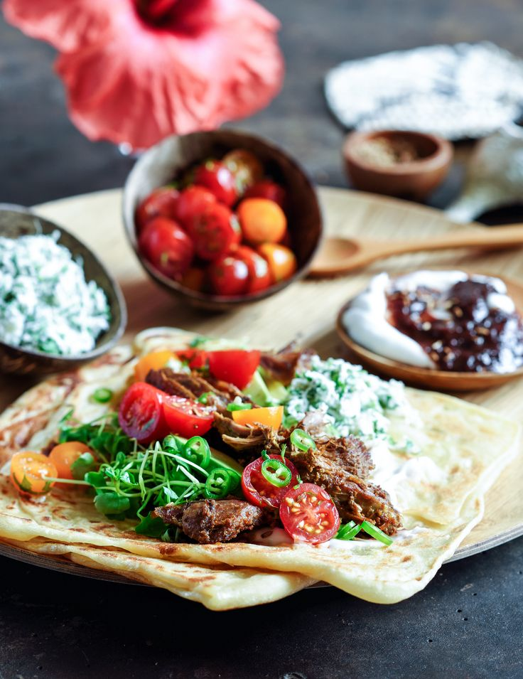 slow-roasted Indian-spiced lamb with coconut chutney & paratha