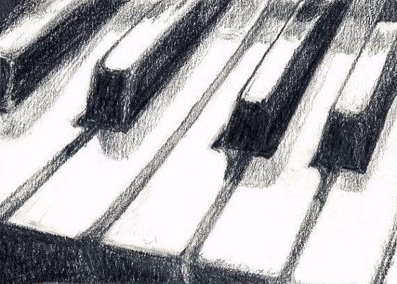 3d piano keys drawing
