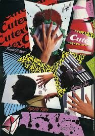 """Dolly Magazine advertising for """"Cutex"""" nail polish in the '80s."""