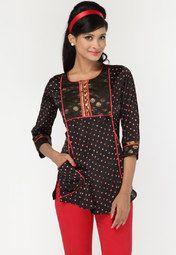 Biba presents this black coloured kurti which features an interesting pattern all over its length. The jacquard work on the yoke looks very attractive. Pair this with black coloured jeans and metallic jewellery to complete your look.