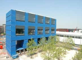 This recycled shipping container building can be dismantled and moved to new locations. Cool!