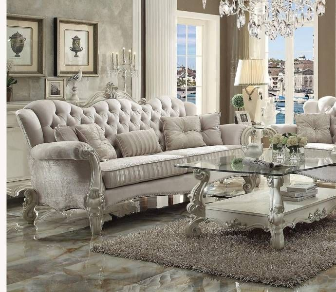Ivory Velvet Bone White Sofa Set 2p Versailles 52105 Acme Vintage Traditional Luxury Living Room Living Room Furniture Living Room Sets