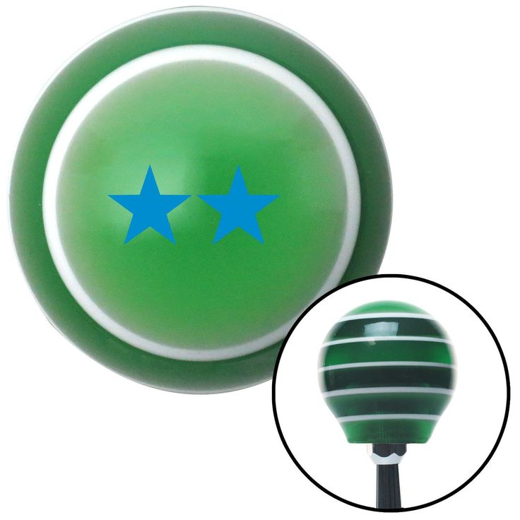 Blue Rear Admiral Upper Half Green Stripe Shift Knob with M16 x 15 Insert