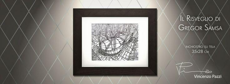 """Il Risveglio di Gregor Samsa"" (The awakening of Gregor Samsa) - inchiostro su tela (ink on canvas) - 35x28 cm - by Vincenzo Pazzi - http://vincenzopazzi.com/ - #art #acrylic #ink #canvas"