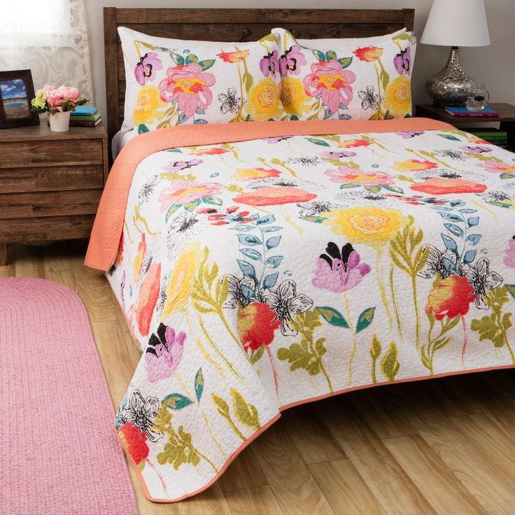 Quilt Set Twin Size Cotton 2 Piece Cover Floral Soft Comfort College Bedding New #GreenlandHomefashions #Contemporary