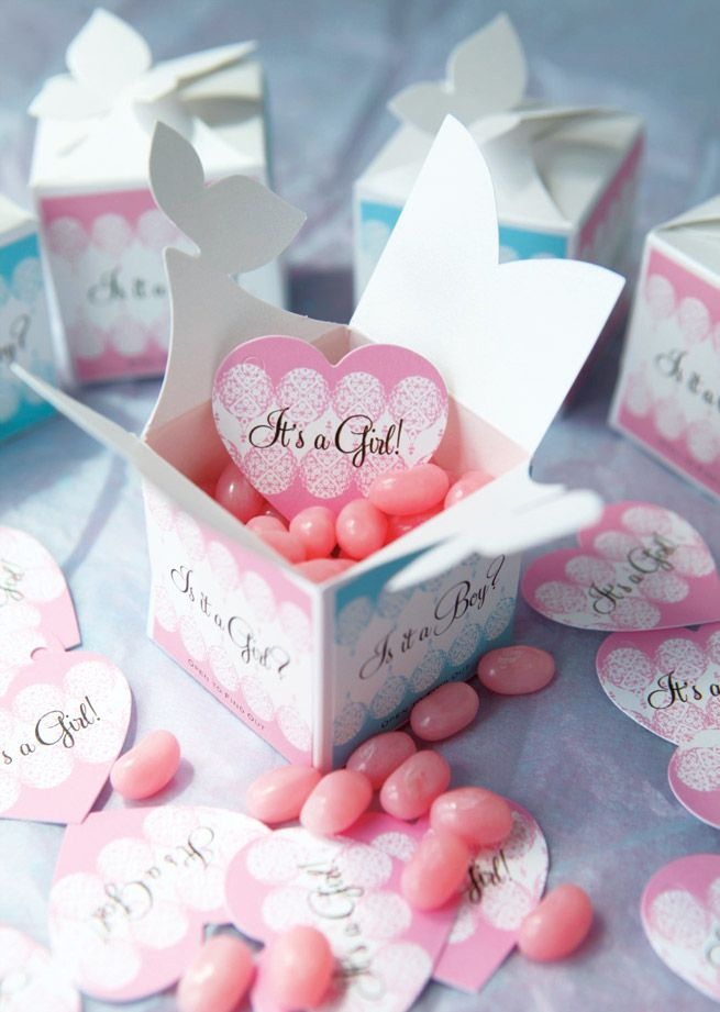 Baby Gender Reveal idea - favor boxes with labels! Pink Jelly beans inside!