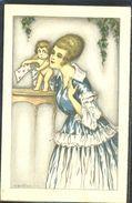 HA093 ART DECO a/s BERTIGLIA LADY FEMME ANGE ANGELOT CUPID ANGEL LETTRE  | En vente sur Delcampe