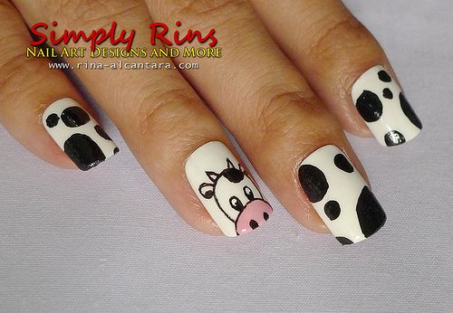 cow nails....i like the cow head part...but the rest looks like a dalmation