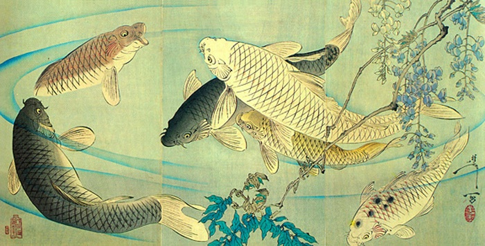 Traditional japanese painting of koi life aquatic for Koi japanese art