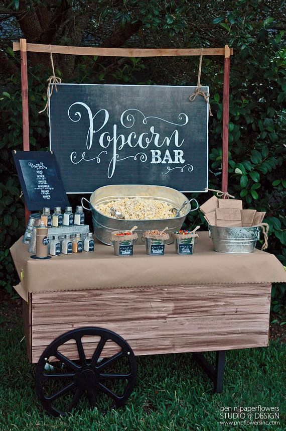 Refreshments Idea: Popcorn bar. This is linked to an instant download you can buy off Etsy - Popcorn Bar Collection - FANCY Chalkboard Edition.