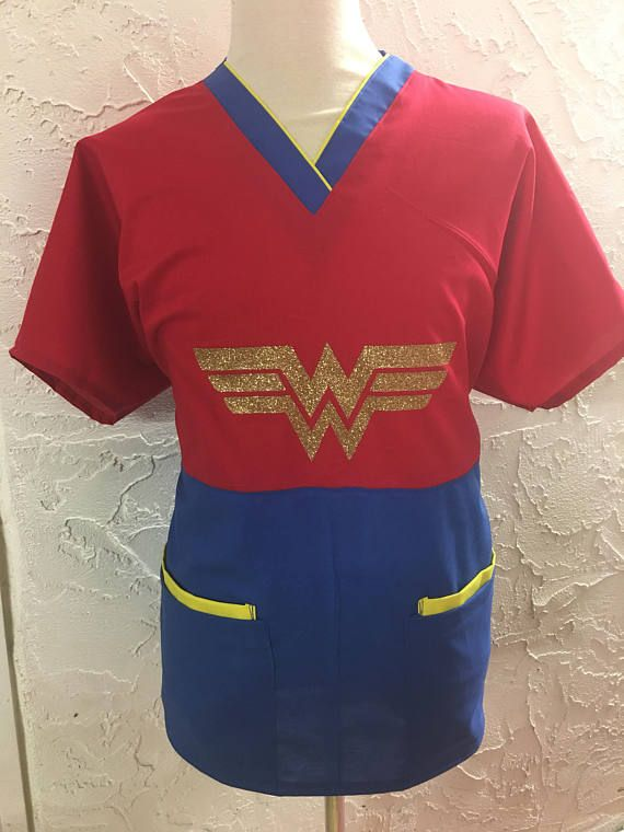 Wonder Woman scrub top - superhero girl mecical scrub top nurse doctor surgical RN CNA DR dentist dental scrubs pediatric #medicalscrubs