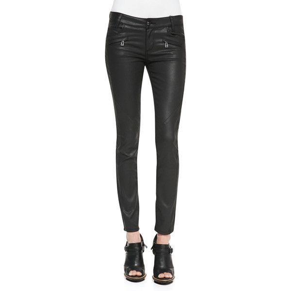 Belstaff Skinny Coated Moto Jeans ($138) ❤ liked on Polyvore featuring jeans, legs, pants, belstaff, zipper skinny jeans, skinny leg jeans, zipper jeans and skinny jeans