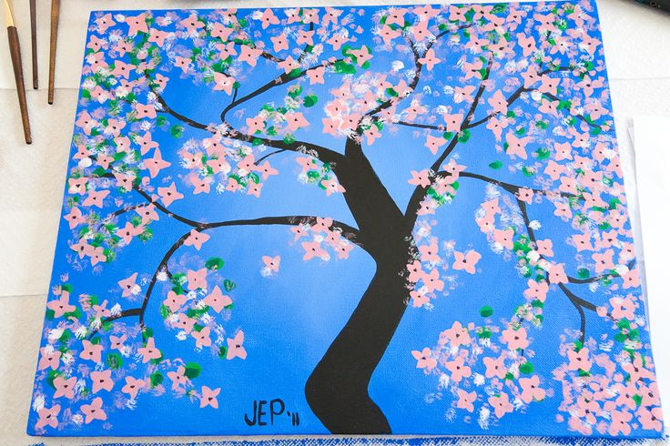 Pink Dogwood Tree Acrylic Painting Tutorial Projects