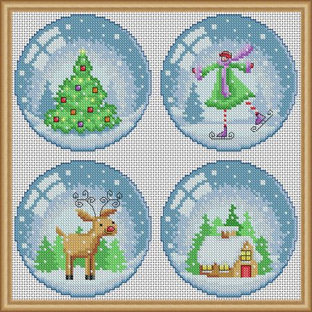 Cross-stitch Christmas Snow Globe, part 1... no color chart available, just use the pattern chart as your color guide..