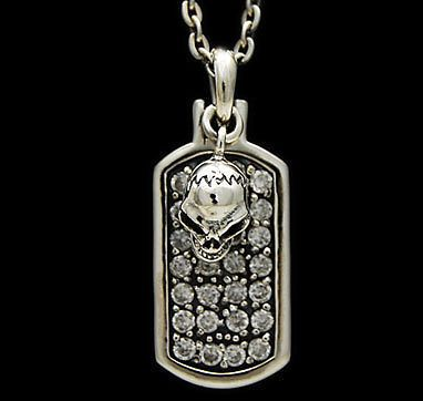 DOG TAG SKULL BLING-BLING 925 STERLING SILVER BIKER ROCK MEN'S PENDANT won-021