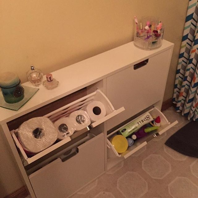"IKEA ""shoe bin"" is the perfect small bathroom storage space : @punkysnickerjen"