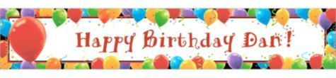 Balloon Celebration Custom Birthday Banner - Happy Birthday Banners - Custom Banners - Custom Invitations & Banners - Party City