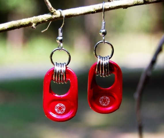 Red Star tab Earrings