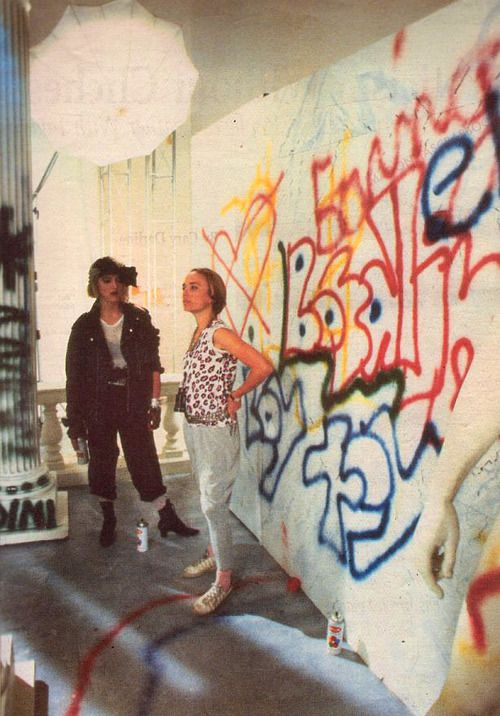 Madonna on the set of Borderline with director Mary Lambert (1984)