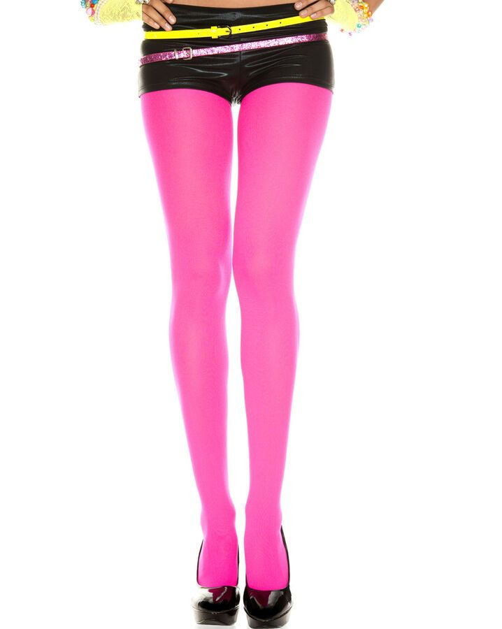 NEON PINK SHINY OPAQUE SPANDEX STOCKINGS XS-XXXL Tall