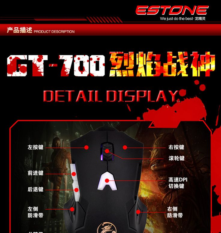 ESTONE Adjustable 1200DPI 6 Buttons Optical USB Wired Gaming Mouse Professional Game Mice  Colors LED for PC Laptop Computer - http://www.pcbuild.guru/products/estone-adjustable-1200dpi-6-buttons-optical-usb-wired-gaming-mouse-professional-game-mice-colors-led-for-pc-laptop-computer/