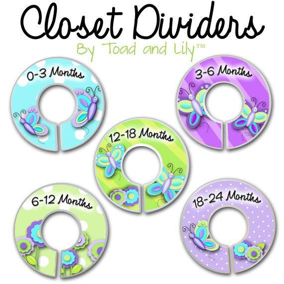 CLOSET DIVIDERS Pretty Purple Butterfly Girls by ToadAndLily, $12.00