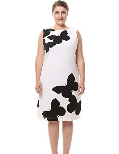 d6f477653fb Women s Sleeveless Butterfly Printed Plus Size Dress with Back Metal Zip  White