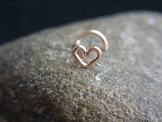 Rose gold filled Heart nose screw by PiercingRoom on Etsy, $10.95