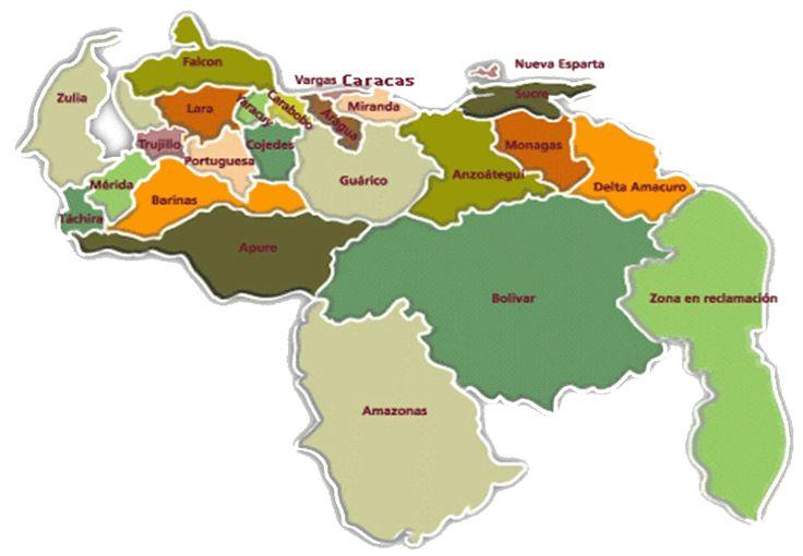 Resultado de imagen para mapa geopolitico de venezuela