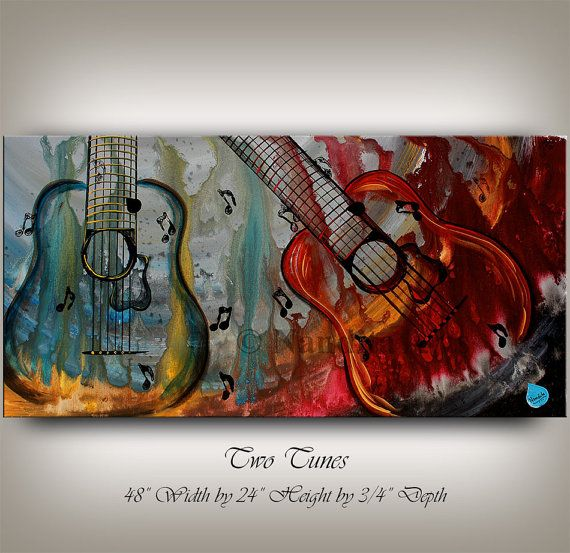 """Music Art - Guitar Painting - Abstract Guitar Art. """"Two Tunes"""" by Nandita Arts. You are sitting down with a melody and harmony being played by two guitars. The tones are blending in with each other, and your ears take a blissful trip where only the imagination knows the destination. #Guitarpainting"""