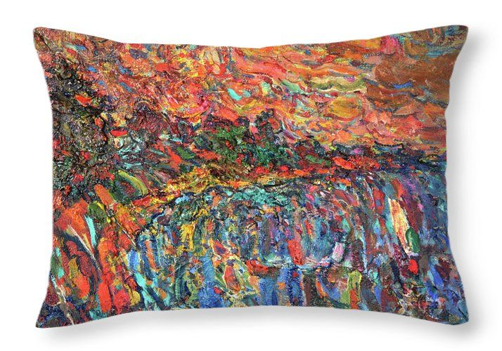 Landscape Throw Pillow featuring the painting Evening Beach by Nikolay Malafeev