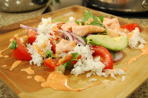 Poached Salmon with Avocado Salad and Coconut Rice