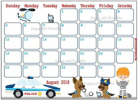 Calendar August 2018 Police theme Printable Cute Planner Planners