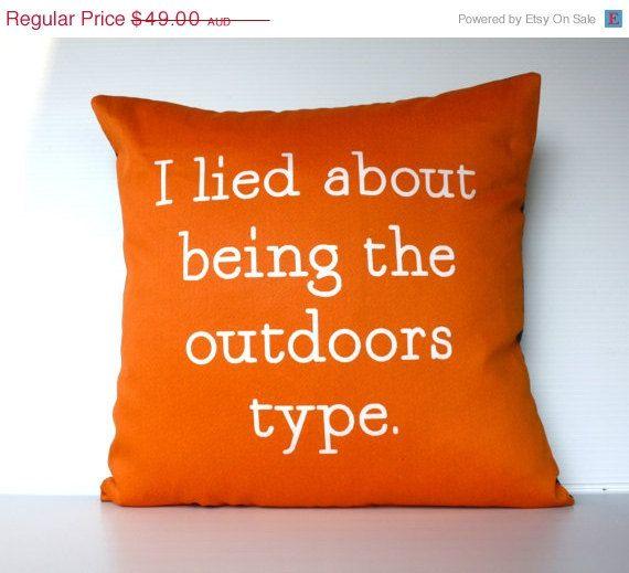 Funny, but not true... Orange cushion cover decorative by mybeardedpigeon, $44.00