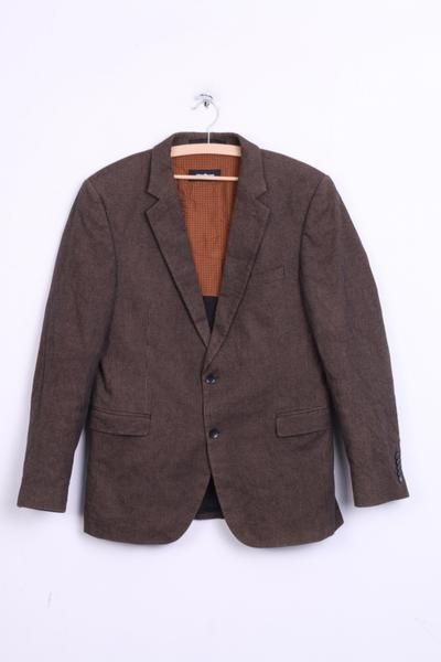 Strellson Mens 50 M Blazer Top Suit Check Brown Cotton Single Breasted - RetrospectClothes